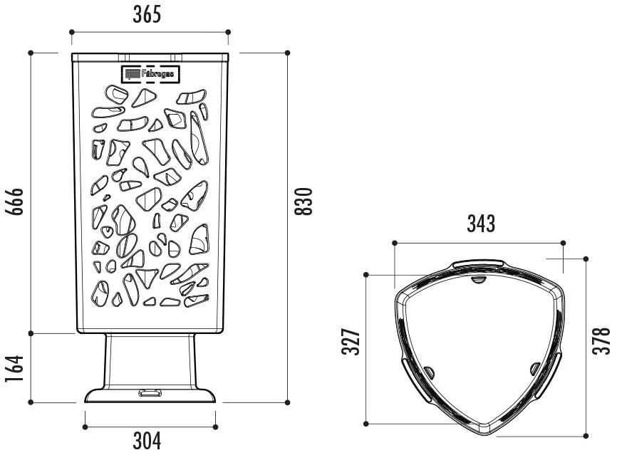 dimensions de la corbeille urbaine en plastique - Cofradis Collectivités