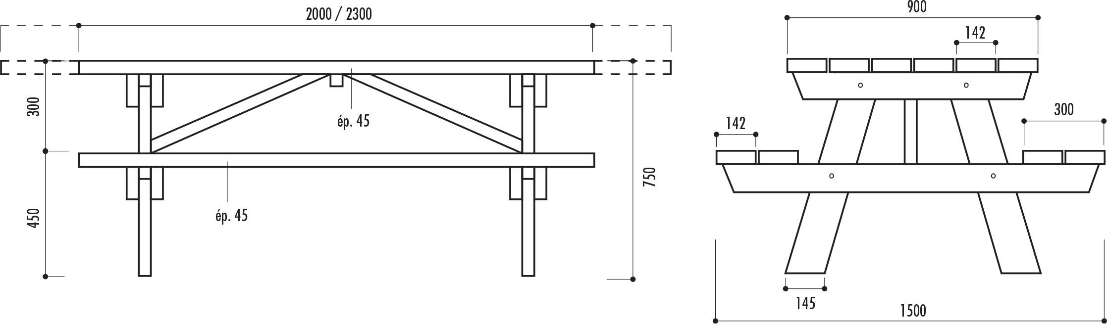 schéma technique de la table pique-nique en bois BERLIN - Cofradis Collectivités