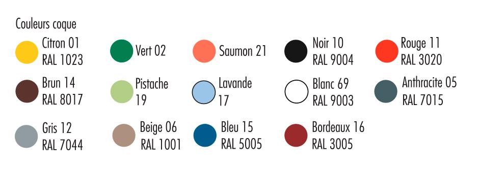 coloris de la chaise à coque lessivable Hélène - cofradis