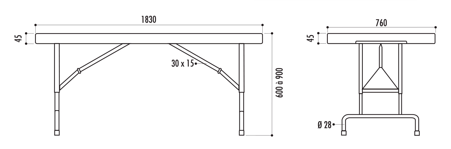 dimensions de la table pliante polypro réglable - cofradis